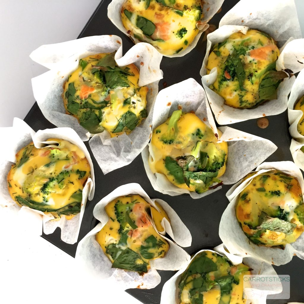 brocolli, spinach and smoked salmon muffins