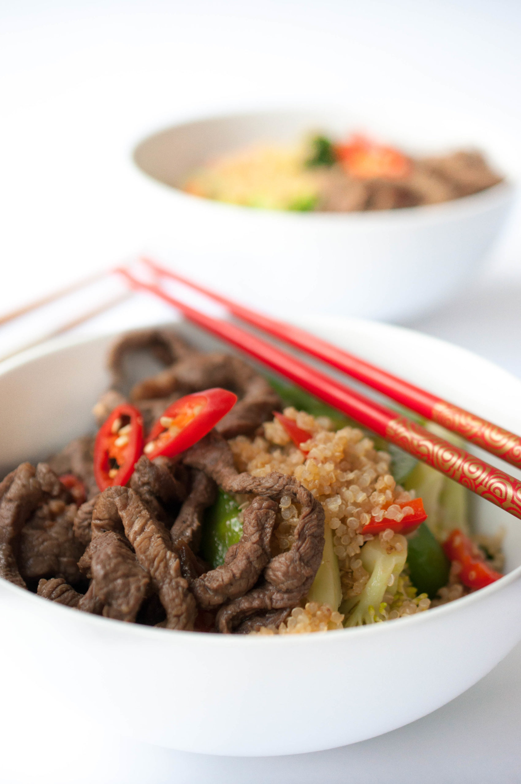Quinoa Veggie Stirfry with Beef Strips