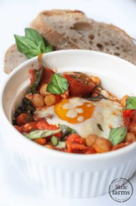 Baked Tomato Chorizo Egg with Chickpea and Spinach
